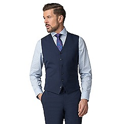 Stvdio by Jeff Banks - Blue textured wool blend 6 button tailored fit suit waistcoat