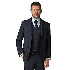 Stvdio by Jeff Banks - Blue check wool blend 2 button tailored fit suit jacket