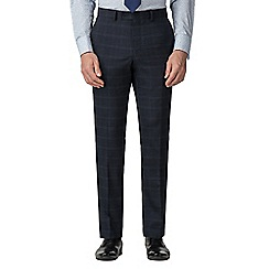 Stvdio by Jeff Banks - Blue check wool blend flat front tailored fit suit trousers