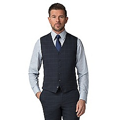 Stvdio by Jeff Banks - Blue check wool blend 6 button tailored fit suit waistcoat