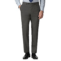 Stvdio by Jeff Banks - Grey puppytooth wool blend flat front tailored fit suit trousers
