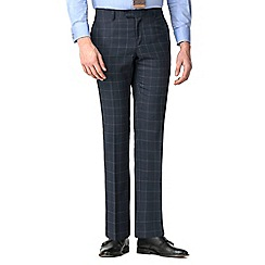 Racing Green - Grey rust windowpane tailored trousers