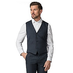 The Collection - Deep blue check tailored fit waistcoat