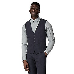 The Collection - Navy broken texture tailored fit waistcoat