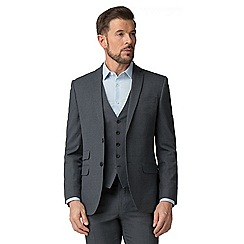 The Collection - Charcoal semi plain tailored fit suit
