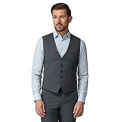 The Collection - Charcoal semi plain tailored fit waistcoat