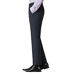 Jeff Banks - Blue textured machine washable tailored fit wool blend formal trousers
