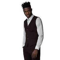 Red Herring - Burgundy plain skinny fit waistcoat