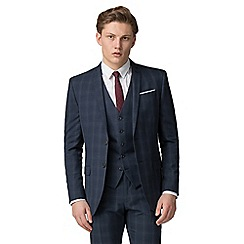 Red Herring - Deep blue burgundy check slim fit suit
