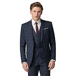 Red Herring - Deep blue burgundy check slim fit jacket