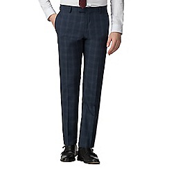 Red Herring - Deep blue burgundy check slim fit trousers