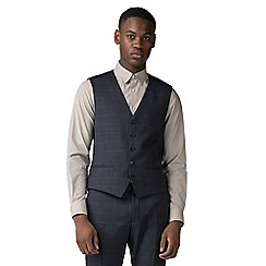 Red Herring - Navy with rust windowpane check waistcoat