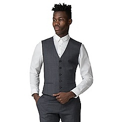 Red Herring - Bright blue textured check slim fit waistcoat