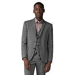Ben Sherman - Grey windowpane check slim fit jacket