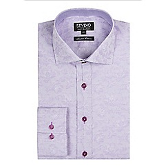 Stvdio by Jeff Banks - Lilac stripe floral jacquard shirt