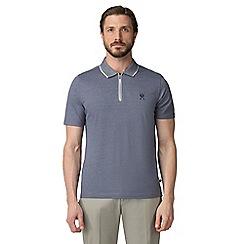 Jeff Banks - Blue pique shadow stripe half zip polo shirt