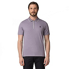 Jeff Banks - Purple pique shadow stripe half zip polo shirt