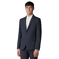 Red Herring - Navy with blue over check skinny fit jacket