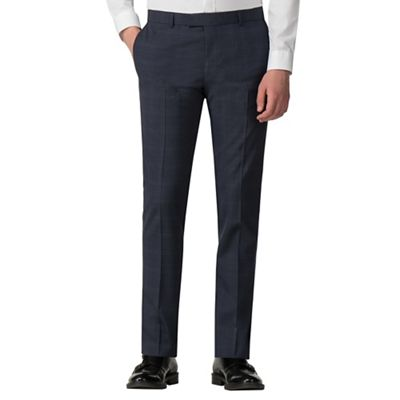 c1f01e518707 Red Herring - Navy with blue over check skinny fit trousers