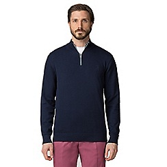 Jeff Banks - Navy tipped half zip jumper