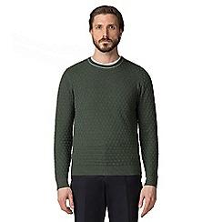 Jeff Banks - Green box stitch crew neck jumper