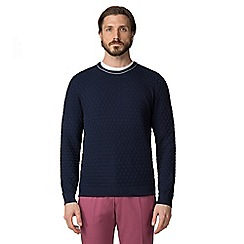Jeff Banks - Navy box stitch crew neck jumper