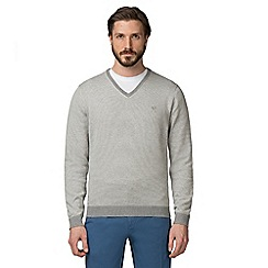 Jeff Banks - Grey stripe V-Neck jumper
