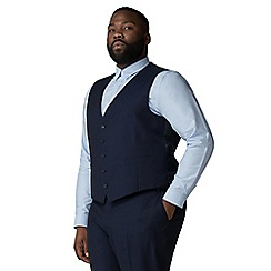 The Collection - Blue semi plain big and tall waistcoat