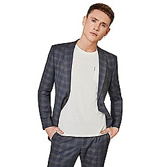 Ben Sherman - Midnight blue with tan overcheck skinny fit suit