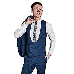 Ben Sherman - Bright blue textured double breasted waistcoat