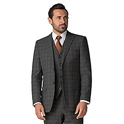 Jeff Banks - Grey with rust windowpane wool blend 2 button regular fit travel suit jacket