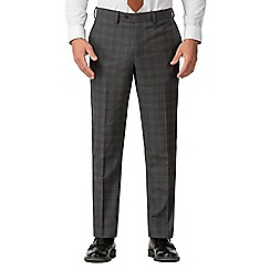 Jeff Banks - Grey with Rust Windowpane Check Wool Blend Flat Front Regular Fit Travel Suit Trousers