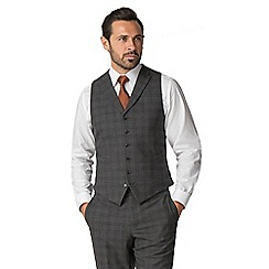Jeff Banks - Grey with Rust Windowpane Wool Blend 6 Button Travel Suit Waistcoat