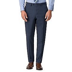 Jeff Banks - Airforce blue check wool blend flat front regular fit travel suit trousers