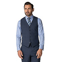 Jeff Banks - Airforce blue check wool blend 6 button travel suit waistcoat