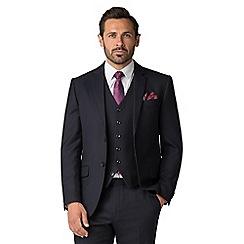 Jeff Banks - Navy Jacquard Texture Wool Blend 2 Button Modern Regular Fit Suit Jacket