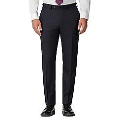 Jeff Banks - Navy Jacquard Texture Wool Blend Flat Front Regular Fit Suit Trousers