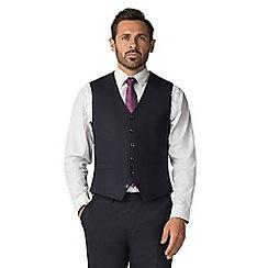Jeff Banks - Navy Jacquard Texture Wool Blend 6 Button Front Regular Fit Waistcoat
