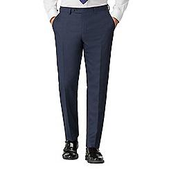 Jeff Banks - Blue Semi Plain Wool Blend Flat Front Regular Fit Suit Trousers