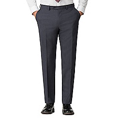 Jeff Banks - Airforce checkerboard texture wool blend flat front modern regular fit suit trousers