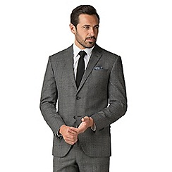 Jeff Banks - Grey jaspe with blue check wool blend 2 button modern regular fit suit