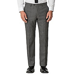 Jeff Banks - Grey jaspe with blue check wool blend flat front modern regular fit suit trousers