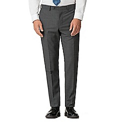 Stvdio by Jeff Banks - Grey texture performance wool blend flat front tailored fit suit trousers