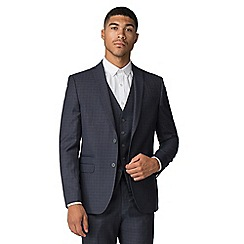 Red Herring - Deep blue tan texture slim suit jacket