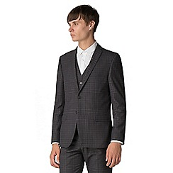 Red Herring - Charcoal with blue overcheck slim suit jacket