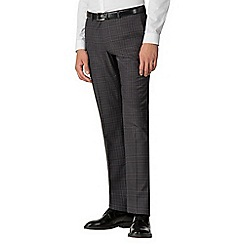 Red Herring - Charcoal with blue overcheck slim suit trousers