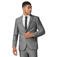 Red Herring - Light grey tonic with tipping slim suit jacket