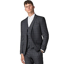 Red Herring - Navy rust overcheck skinny fit suit jacket