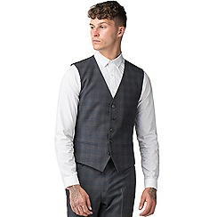 Red Herring - Navy rust overcheck suit waistcoat