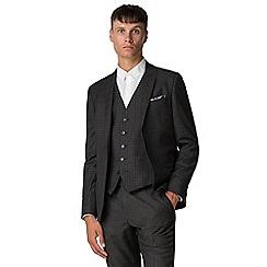 Ben Sherman - Charcoal burgundy check skinny jacket